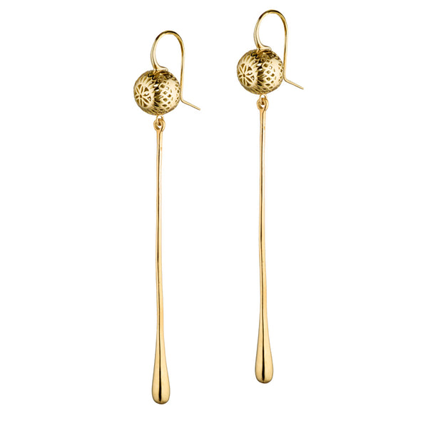 18K Yellow Gold 10mm Crownwork Ball Earrings on Hooks with Long Solid Gold Drops