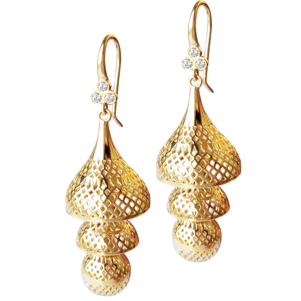 18K Yellow Gold Large Crownwork Pagoda Earrings on Triple Diamond Hooks