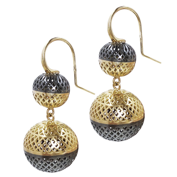 18K Yellow Gold and Oxidized Silver 10 and 15mm Crownwork Ball Earrings