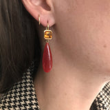 18K Yellow Gold Citrine and Carnelian Drop Earrings