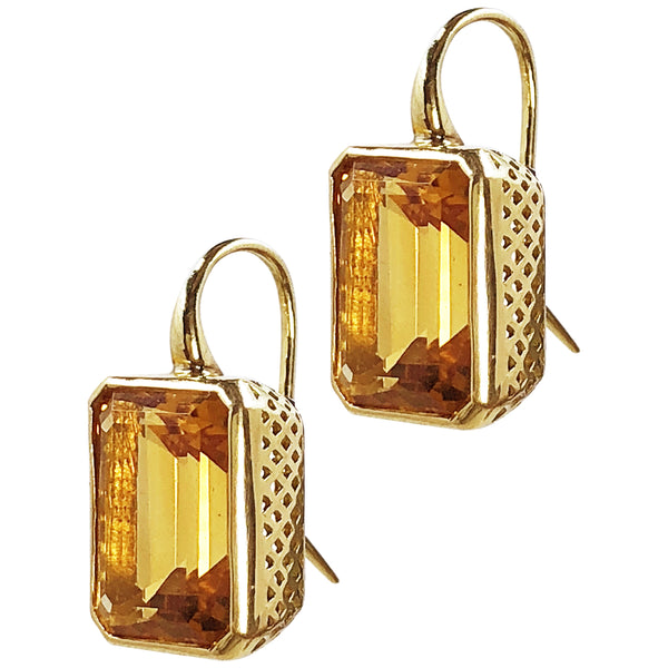 18K Yellow Gold 10 x 14mm Crownwork Bezel Set Emerald Cut Citrine Earrings on Hooks