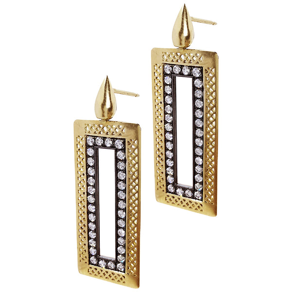 18K Yellow Gold Rectangular Crownwork Earrings