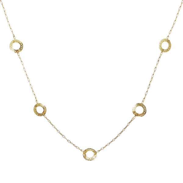 18K Yellow Gold Crownwork Circle Necklace