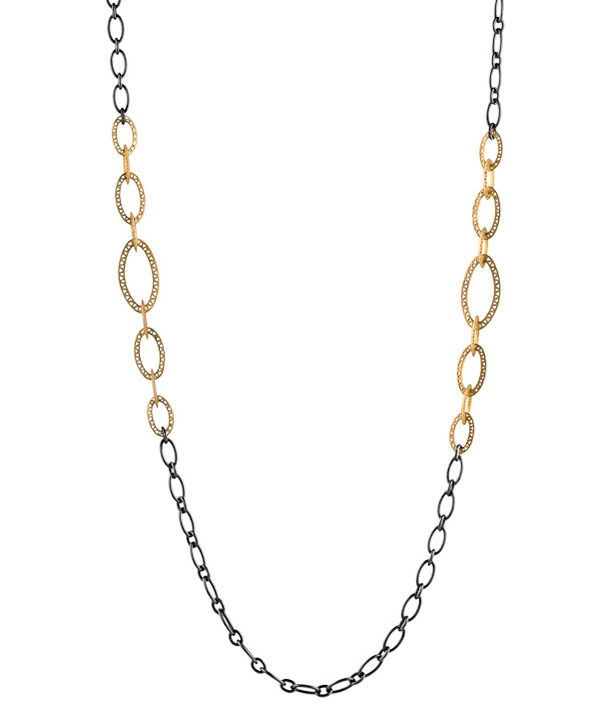 Oxidized Silver Loose Oval Link Chain Necklace with 18K Yellow Gold Graduated Crownwork Oval Links
