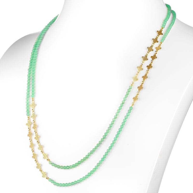 18K Yellow Gold Chrysoprase Triple Wrap Necklace