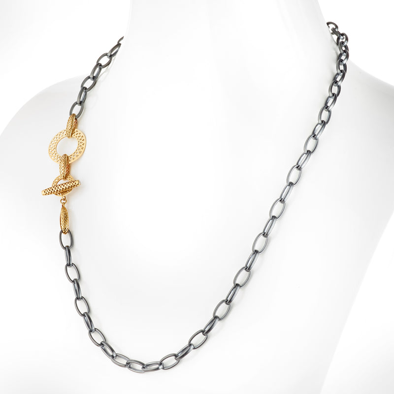 Oxidized Silver Belcher Chain Necklace with 18K Yellow Gold Accent Crownwork Links and Diamond Toggle