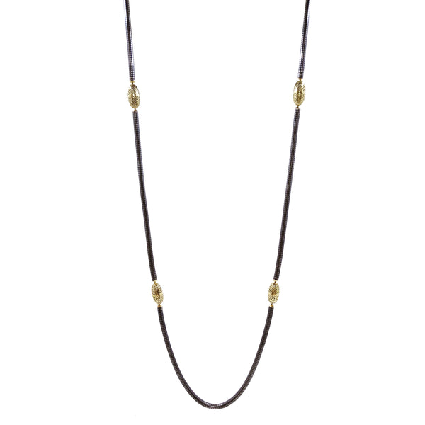 Oxidized Silver and 18K Gold Serpentine Chain Necklace