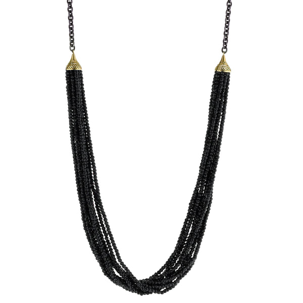 18K Yellow Gold, Oxidized Silver and Black Spinel Necklace