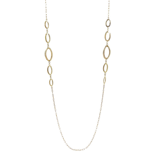 18K Yellow Gold Oval Crownwork Link Necklace