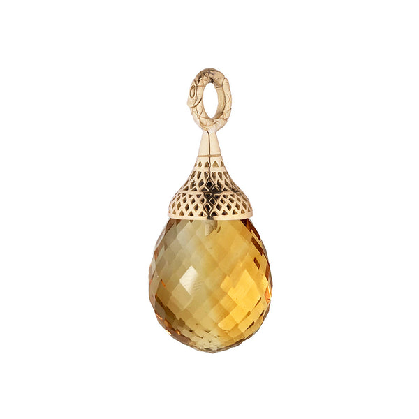 18K Yellow Gold Small Crownwork Finial Capped Faceted Citrine Pendant
