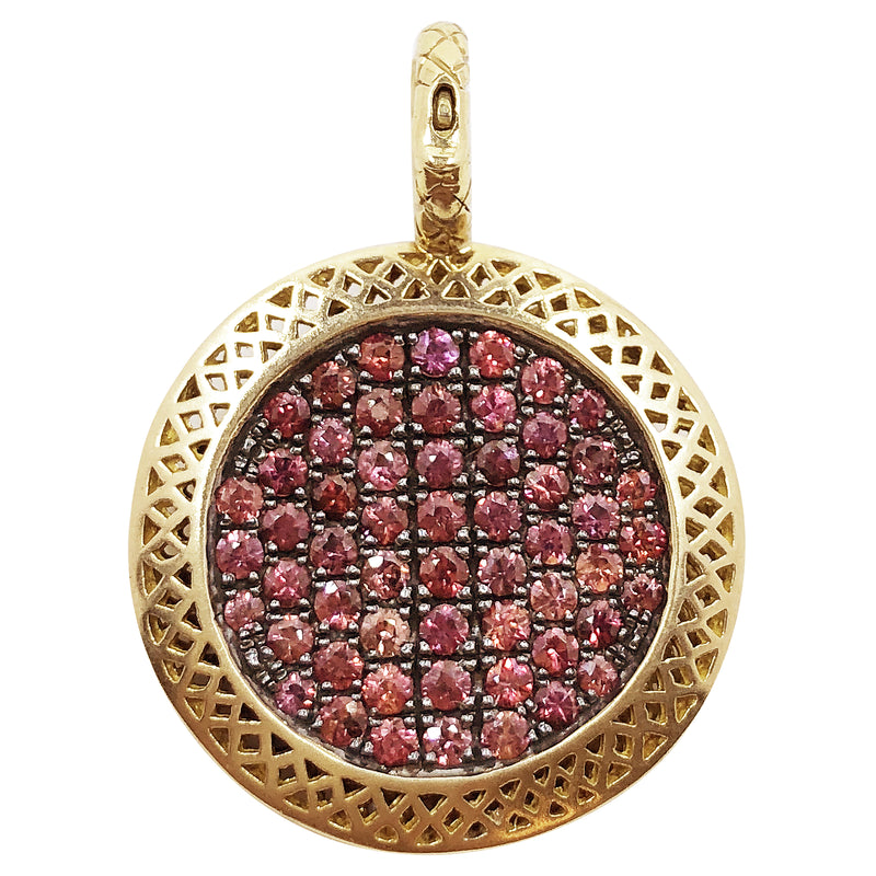 18K Yellow Gold and Red Sapphire Pendant