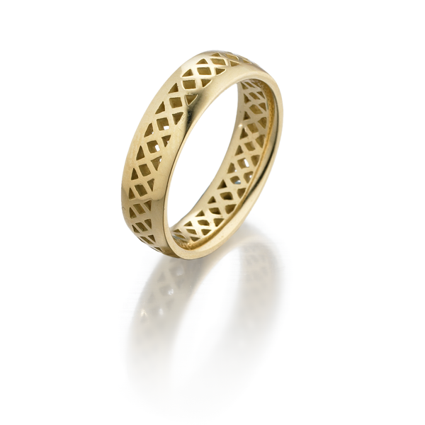 18K Yellow Gold Crownwork Band