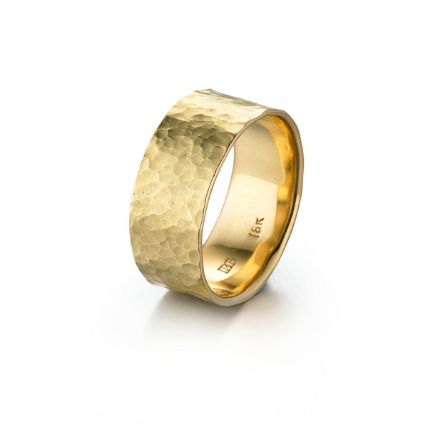 18K Yellow Gold Hammered Band