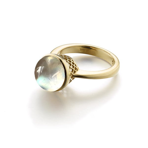 10Mm Crownwork Bezel Set Moonstone Ring