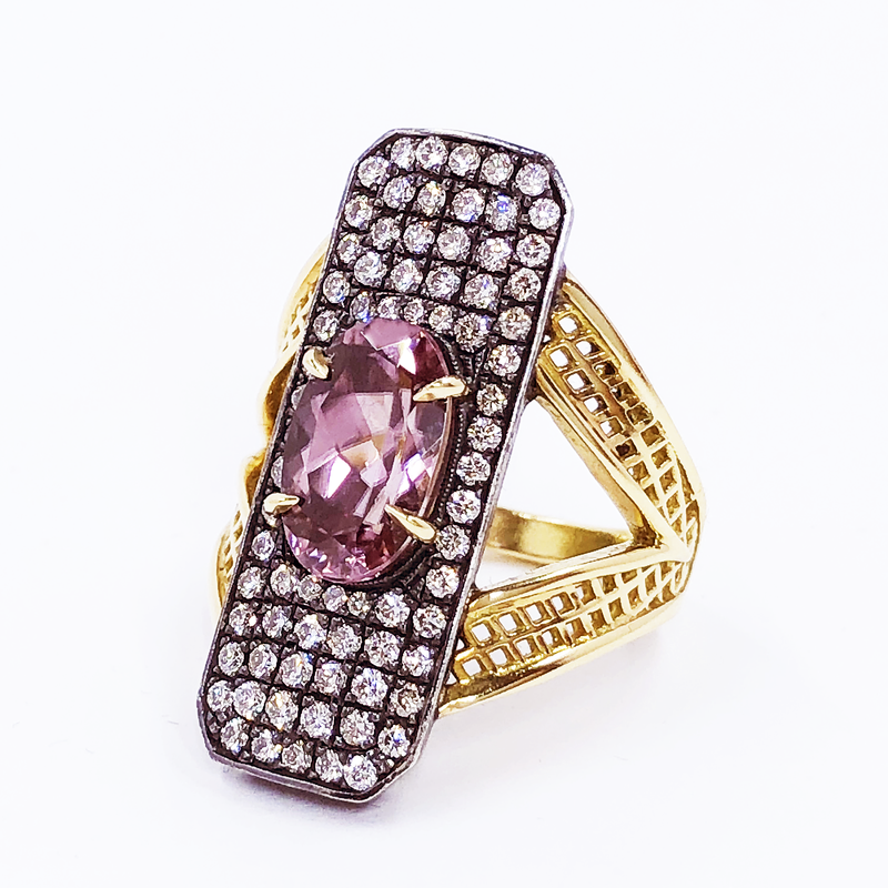 18K Yellow Gold Pink Zircon Ring