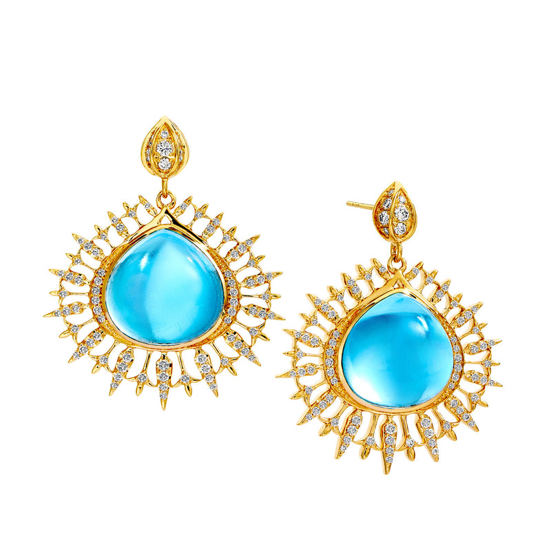 18K Yellow Gold Blue Topaz Earrings with Champagne Diamonds