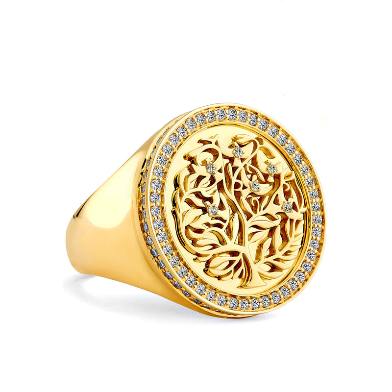 18K Yellow Gold Tree of Life Ring