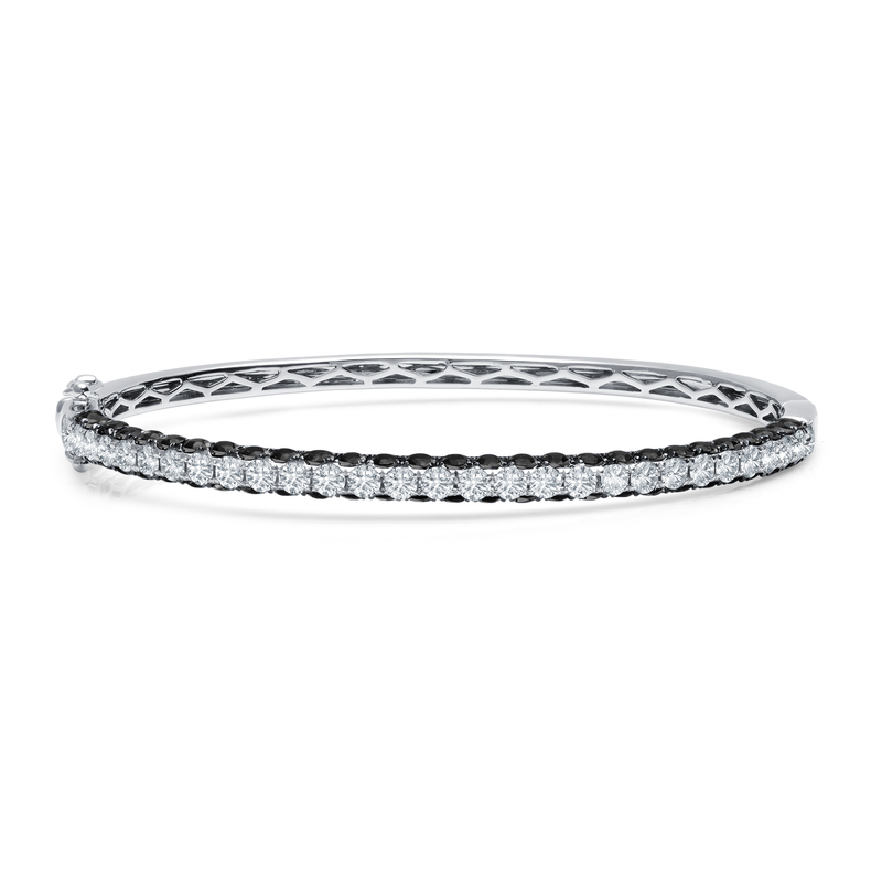 3-Sided Black & White Diamond Bangle