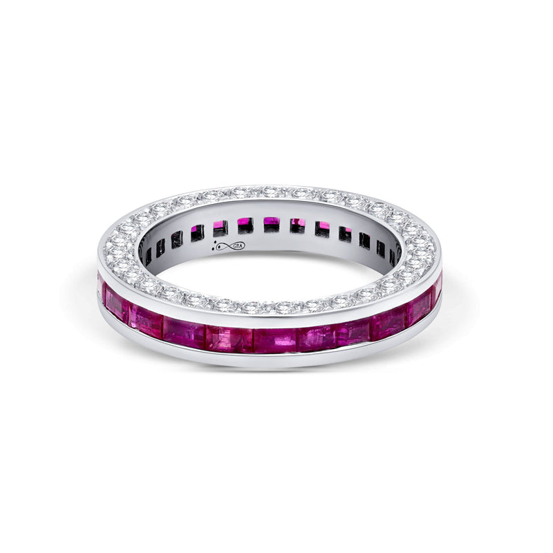 Diamond & Ruby Baguette 3 Sided Ring