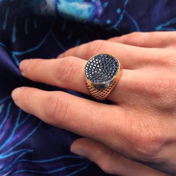 18K Yellow Gold Crownwork Sapphire Signet Ring