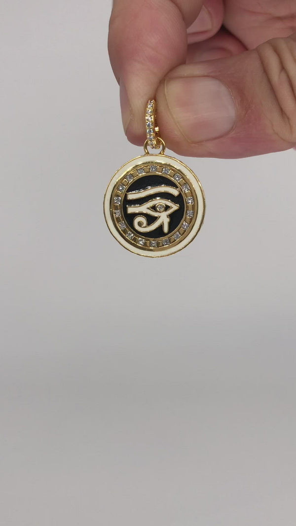 Eye Of Horus -Black And White Enamel Pendant