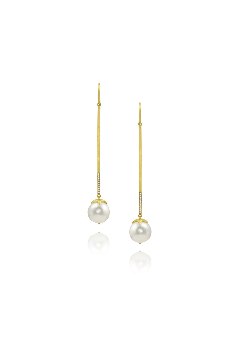 Bahari Earrings - Long Bar South Sea Pearls