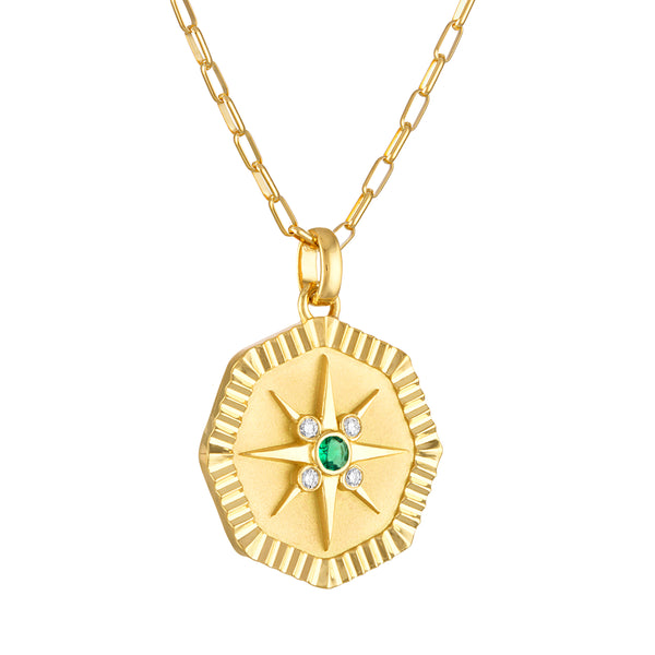 Octagonal Star Pendant With Emerald
