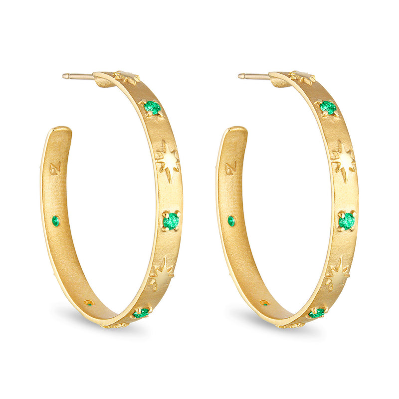 Star and stone hoop, emerald