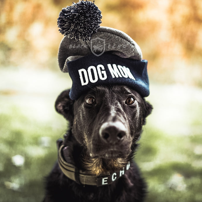 DOG MOM Pom Pom Beanie Hat