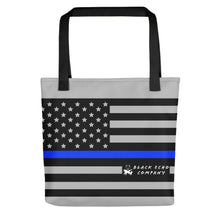 Load image into Gallery viewer, Thin Blue Line Flag Tote Bag - Gray
