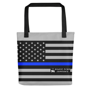 Thin Blue Line Flag Tote Bag - Gray