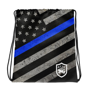 Thin Blue Line Drawstring Bag