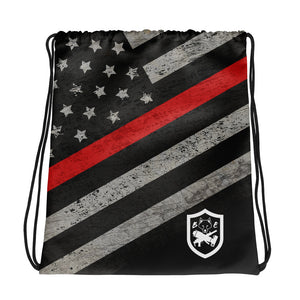 Thin Red Line Drawstring Bag