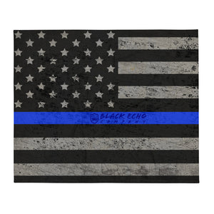 BEC Thin Blue Line Flag Throw Blanket