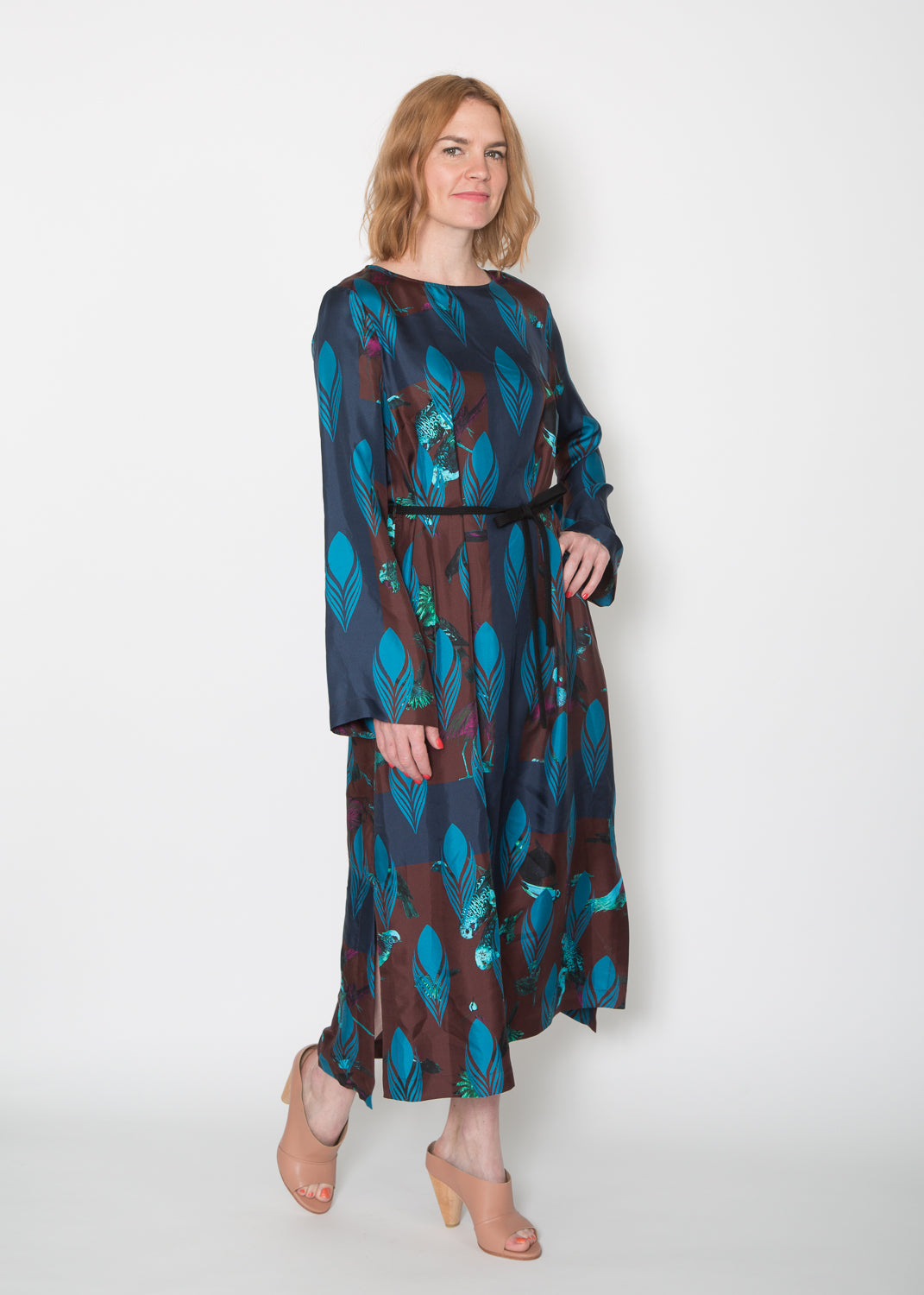 Odeeh Blue & Brown Bird Dress