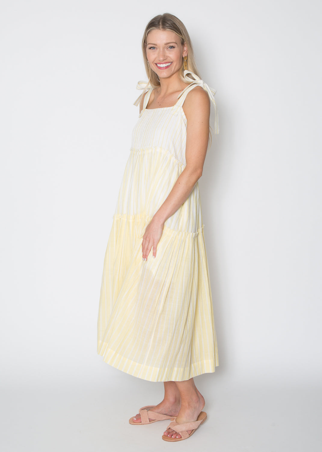 Mii Tie Shoulder Tiered Dress Yellow Stripe