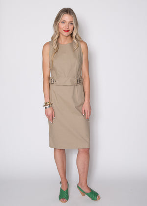 Paule Ka Sleeveless Belt Waist Dress