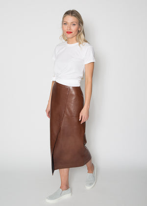 Paule Ka Leather Skirt Cognac