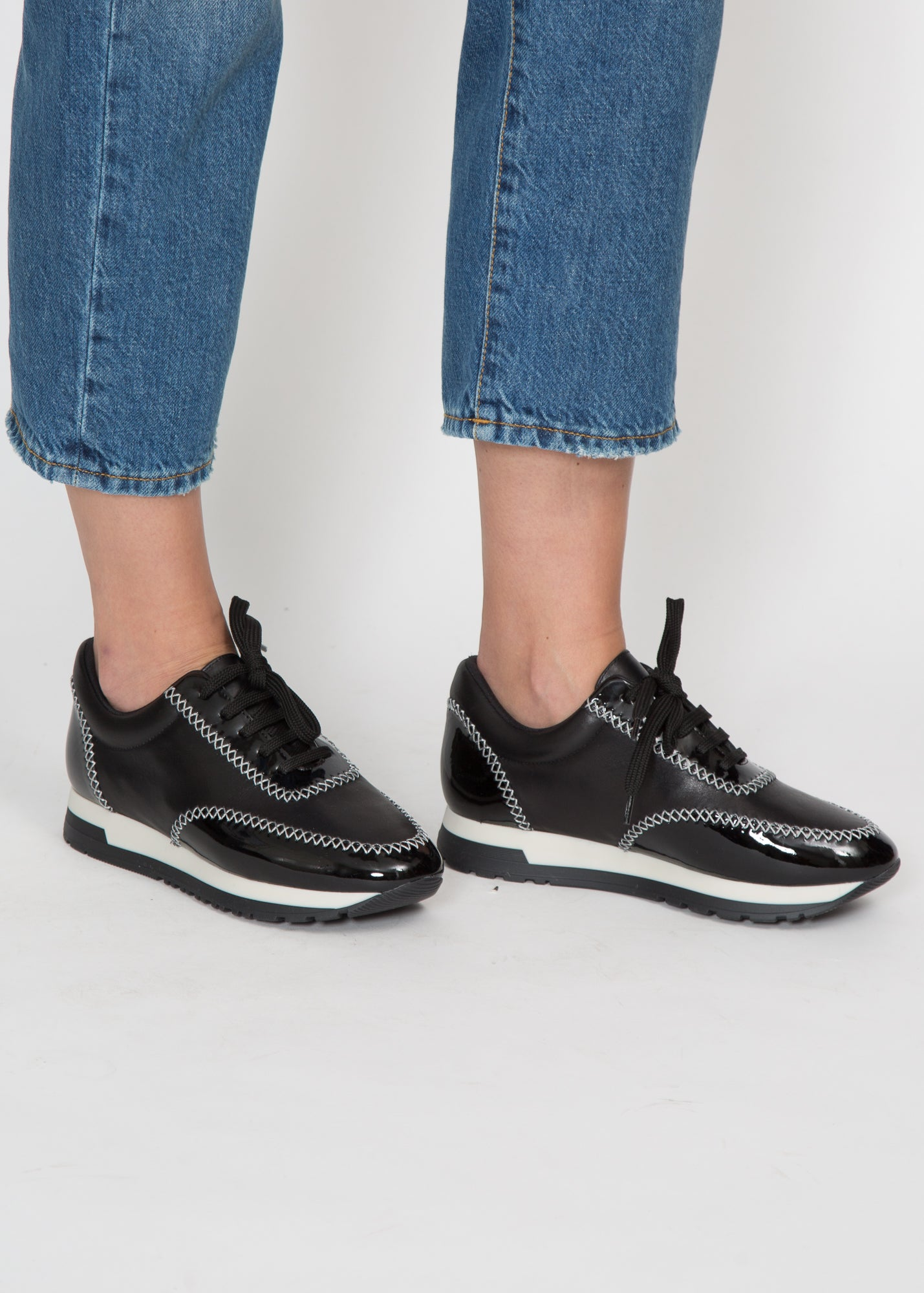 Paule Ka Stitched Leather Sneaker Matte + Patent Black