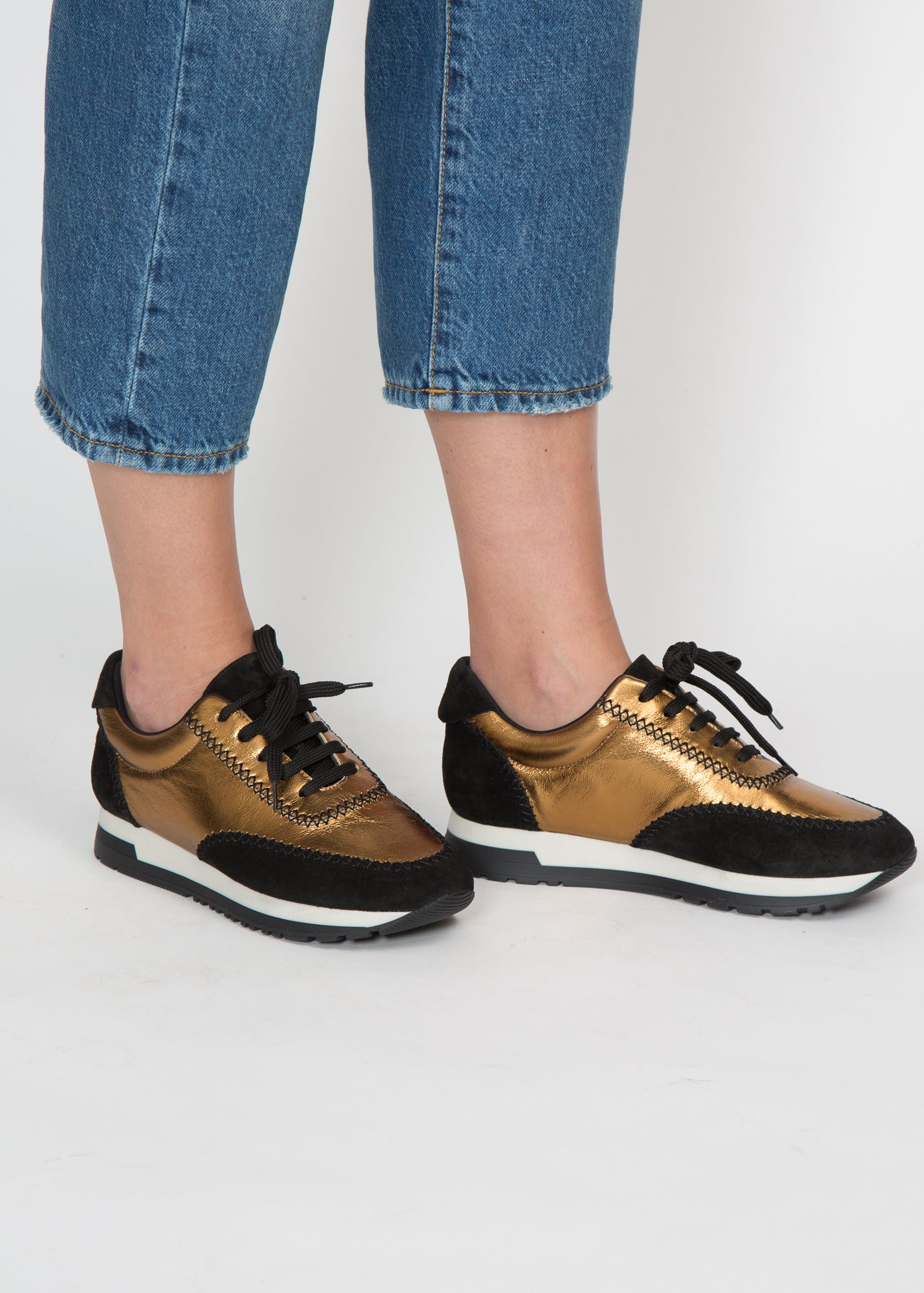 Paule Ka Stitched Leather Sneaker Bronze + Black Suede