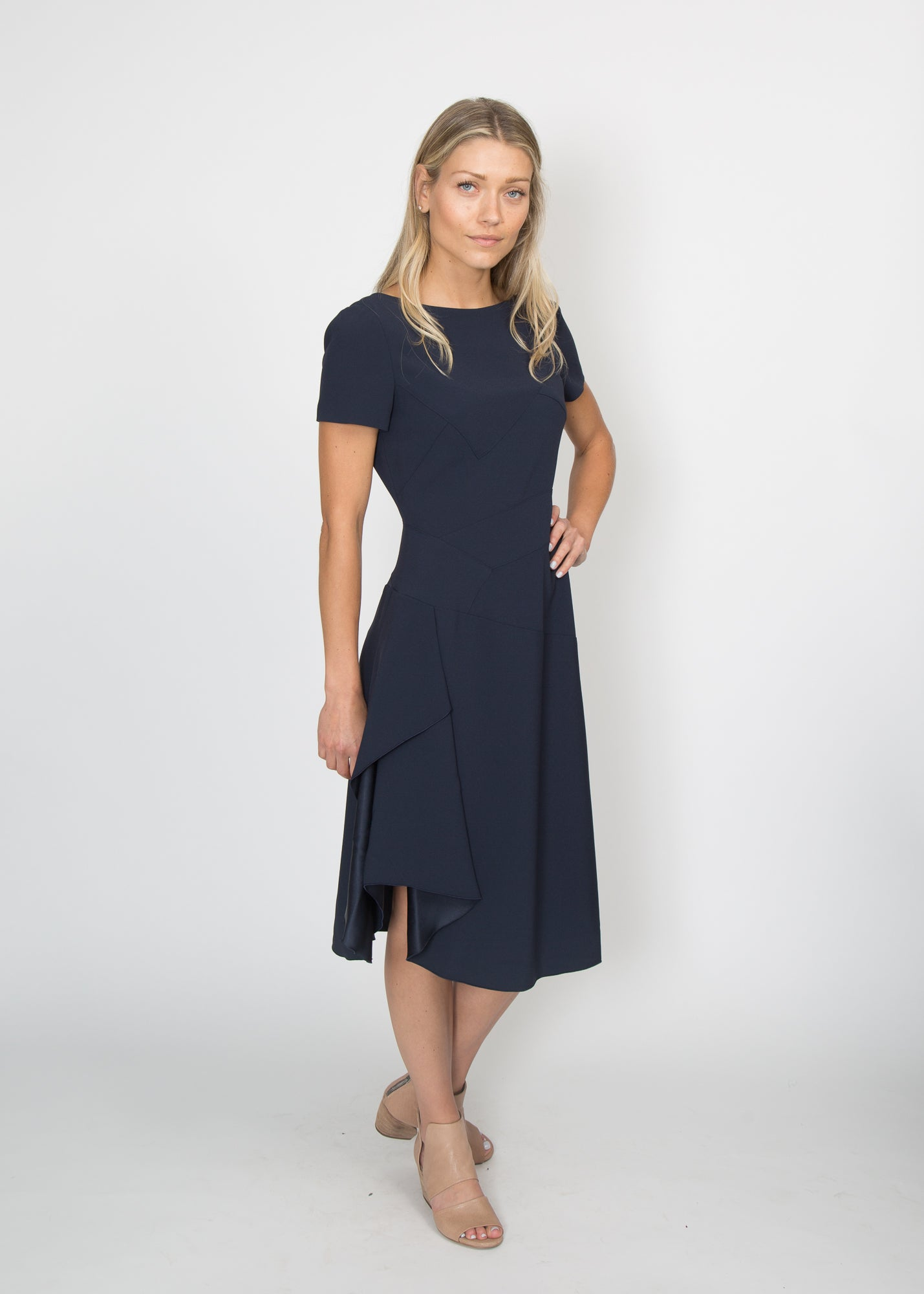 Paule Ka Asymmetrical Side Slit Dress