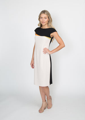 Paule Ka Cap Sleeve Color Block Dress