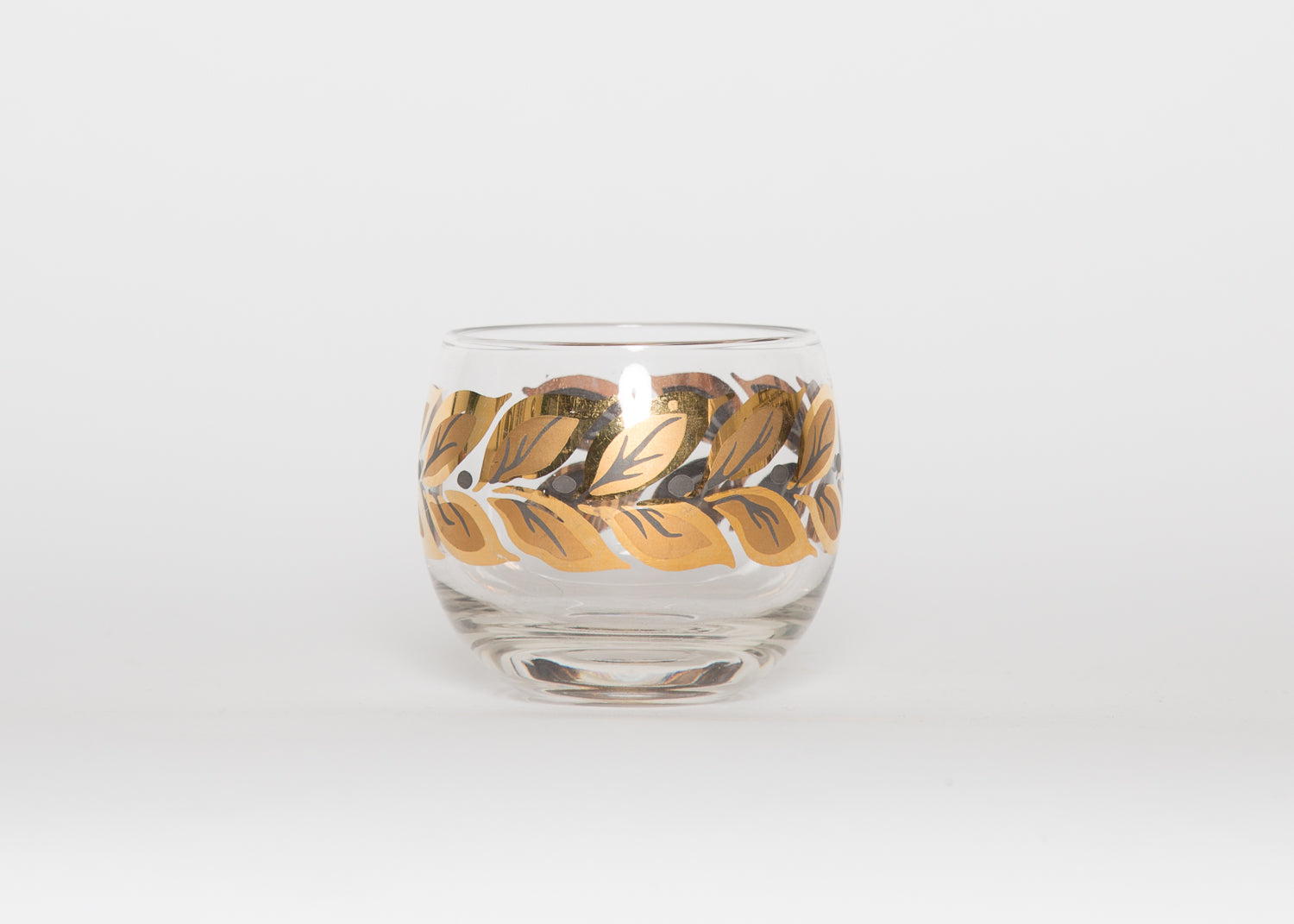 Vintage Gold Leaf Roly Poly Glasses Set of 6