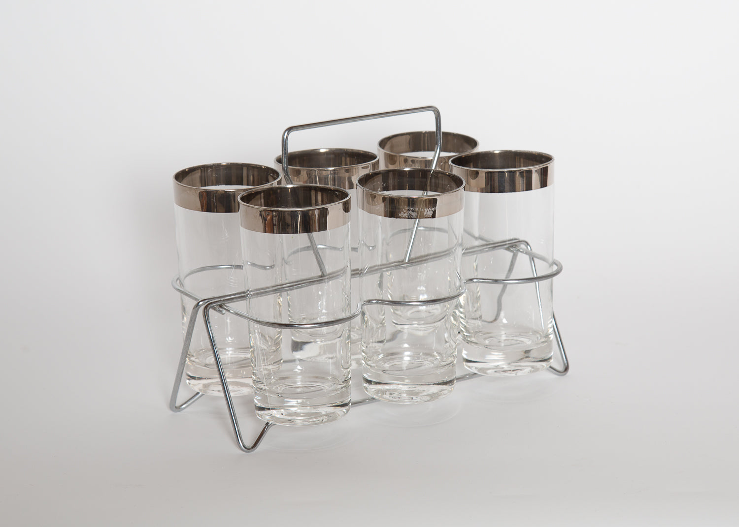 Vintage Silver Rimmed Highball Glasses Set of 6