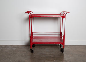 Vintage Industrial Red Metal Cart