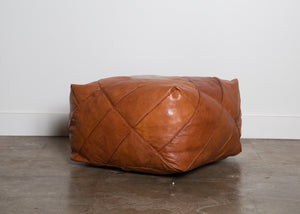 Small Piece Work Leather Pouf