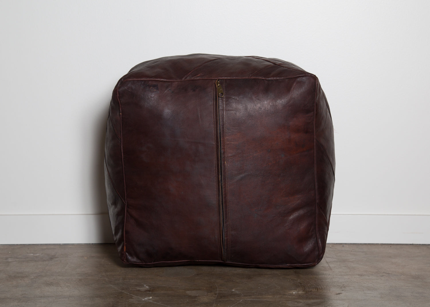 Large Piece Work Leather Pouf