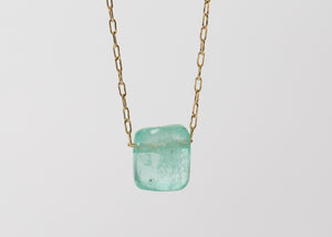 TTT 18k Emerald Chicklet Necklace