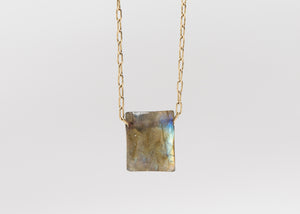 TTT 18k Labradorite Chicklet Necklace
