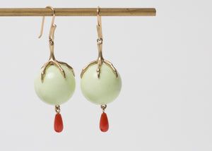 Annette Ferdinandsen Lemon Chrysoprase Egg Claw Earrings